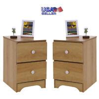 Bedroom Bedside Furniture Nightstand Set of 2 End Table Shelf W/2 Drawer Storage