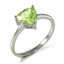 1.3ct Gorgeous Genuine Trillion Peridot Solid Sterling Silver Ring Size 9 Ladies