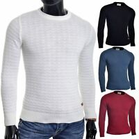 Men's Jumper Striped Knit Smart Long Sleeve Sweater Crew Neck Top Slim Fitness