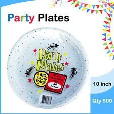 Disposable Plastic Plates 10 Inch 500/Pc Round White Plate Party Occasions New