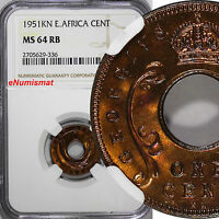 East Africa George VI Bronze 1951-KN 1 Cent NGC MS64 RB TOP GRADED BY NGC KM# 32