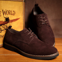 2019 Hot Men's Suede Shoes Dress Formal Oxfords Lace Up Casual Flats Loafers