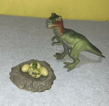 "3"" x 6"" Dilophosaurus Molded Pvc Plactic Dinosaur Toy w/ Soft Plastic Egg Nest"