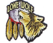 """(C32) LONE WOLF Howling at the MOON 3.5"""" x 3.5"""" iron on patch (3968) Biker"""
