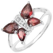 Red Garnet & Diamond Butterfly Solid 925 Sterling Silver Ring Sz 7 Rhodium Pla