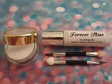 White Lip & eye glitter set incl. glitter, brush and body glue