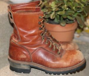 Vintage RED BROWN LEATHER LINEMAN BOOTS Vibram 8.5 E logger steel toe 1960s 70s