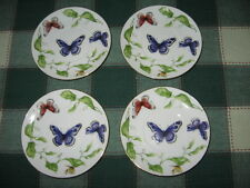 "I. Godinger & Co. Butterfly Garden Set of 4 ~ 4 5/8"" Saucers or Tidbit Plates"