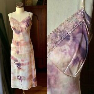 DYED PETALS Vintage Eco-Dyed Tie-Dyed Slip Dress M/L 38