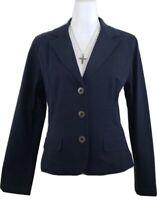 Talbots~Woman Sz 12~Navy Blue Blazer Classic Jacket Cotton Blend Stretch NWT $88