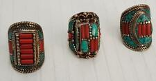 Plated Tibetan Handmade Nepalese Rings Lot Of 3 Stunning Silver