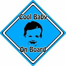 Cool Baby/Child On Board Car Sign ~ Baby Face Silhouette ~ Neon Blue