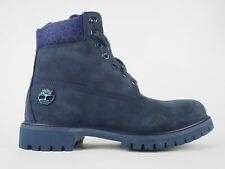 Mens Timberland 6 Inch Premium A1WGS Black Iris Leather Lace Up Boots