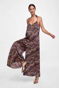 NWT ZARA double strap multi-color paisley print satin wide leg jumpsuit sz M