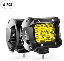 "Nilight LED Work Light Bar 2pcs 4"" Amber Spot Driving Lamps fit for Jeep ATV SUV"