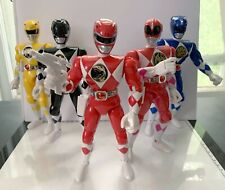 """vintage bandai mighty morphin power rangers set of 8"""" figures used complete"""