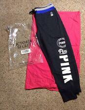 NEW VICTORIA SECRET PINK BANDED GYM PANTS LOVE 3/4 CROPSZ MEDIUM WOMENS