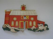 Vintage Homco Made in Usa Plastic Red Barn Silo Horse & Implements Wall Hanging