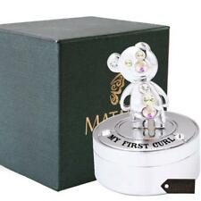 Chrome Plated Mini Silver Teddy Bear Keepsake Box Decorative tabletop by Matashi