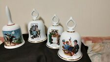 4 Danbury Mint Norman Rockwell Back to School, Paul Revere, Breakfast bells +