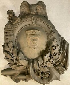 "Antique 1908 Navy ""Fighting Bob"" Admiral Robley Evans Plaster Plaque"