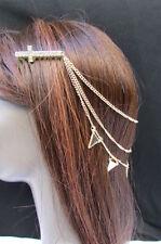 New Women Gold Metal Head Chain Big Cross Hair Jewelry Claw Black White Triangle