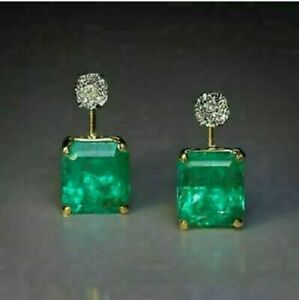 4.10 Ct Green Emerald & Diamond Solitaire Stud Earrings 14K Yellow Gold FN 925