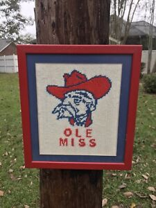 VINTAGE 1970 OLE MISS REBELS COLONEL REB HAND STITCH NEEDLEPOINT FRAMED PICTURE