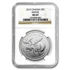 Brand New 2012 Canadian Silver Moose 1oz NGC MS69 Graded Slab Coin - Last 3 !