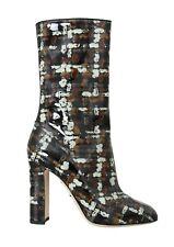 DOLCE & GABBANA Boots Shoes Leather Black Brown Rain Calf EU38.5 / US8 RRP $1300