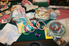 LOT OF 50 plus craft items, lace, plastic needle canvas tissue doiley ribbon