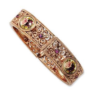 Purple Crystal & Floral Decal Stretch Bracelet Rose Tone 1928 Boutique