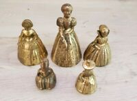 Lot of 5 Vintage Brass Bell Woman Lady Made in England