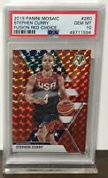 2019 STEPHEN CURRY WARRIORS PANINI MOSAIC FUSION RED CHOICE #260 PSA 10 /88