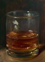 """Glass of Whiskey"" NOAH VERRIER Still life oil painting, Signed art print"