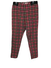 By Junk Food Goth Punk Red Tartan Plaid Stretch Waist Skinny Stiletto Pants XL