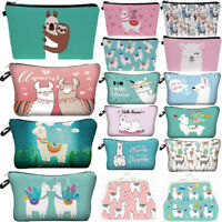 Alpaca Llama Print Cosmetic Bag Cartoon Travel Pouch Women Storage Makeup Bag CA
