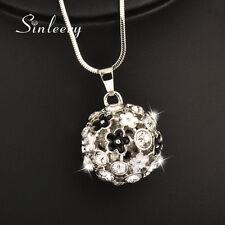 Retro Black &White Enamel Flower Ball Pendant Long Necklace For Women My392