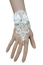 Women Wedding Jewelry White Flower Lace Big Bow Bracelet Hand Fashion Slave Ring
