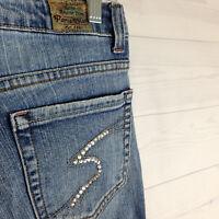 Paris Blues Gem Embellished Womens Size 9 Stretch Blue Med Wash Bootcut Jeans