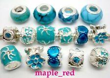 20pcs Fashion mixed Teal & Blue Big Hole Beads Fit European Charm Bracelet