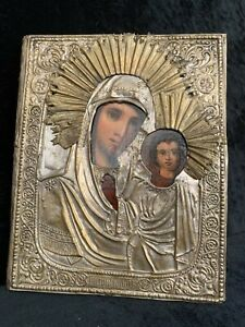 Antique 19th C Russian Hand Painted Icon Mother of God with Oklad Kazanskaya