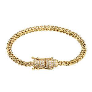 Custom Franco Link Bracelet 14k Yellow Gold Finish 6mm Stainless Steel Box Lock