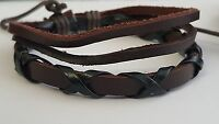 Men Women Leather & Cord Bracelet X Hemp Surfer Wristband Bracelets*limited qty.