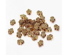 16 Hand Spacer Beads Hamsa Kabbalah Religious Beading Antique Gold Fatima 10x8mm