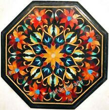 14 Inches Floral Pattern Inlaid Marble Coffee Table Top Black Patio Table Top