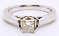 14K Solid White Gold Cathedral Set Princess Cut Diamond Engagement Ring Size 7