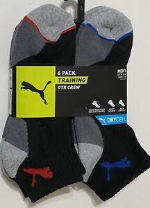 Puma Men's  DRYCELL 6-Pair Quarter Crew Training Socks Black/Gray w/Red & Blue
