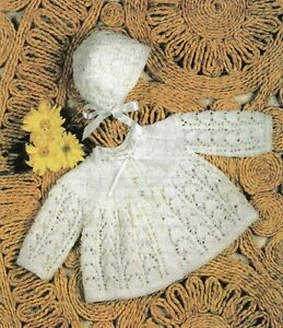 Baby DK Knitting Pattern Matinee Cardigan and Bonnet  Sizes 17-19 inches #59