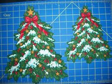 """New listing Fabric Iron-on Appliques - 9"""" or 12"""" Christmas Tree with Glitter Highlights"""